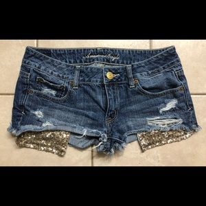 Distressed sequin pocket shorts